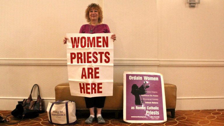 Janice Sevre-Duszynska is attending the Women's Ordination Worldwide conference in Center City this week. She intends to take to the streets of Washington when Pope Francis arrives there next week to push for acceptance of women priests. (Emma Lee/WHYY)