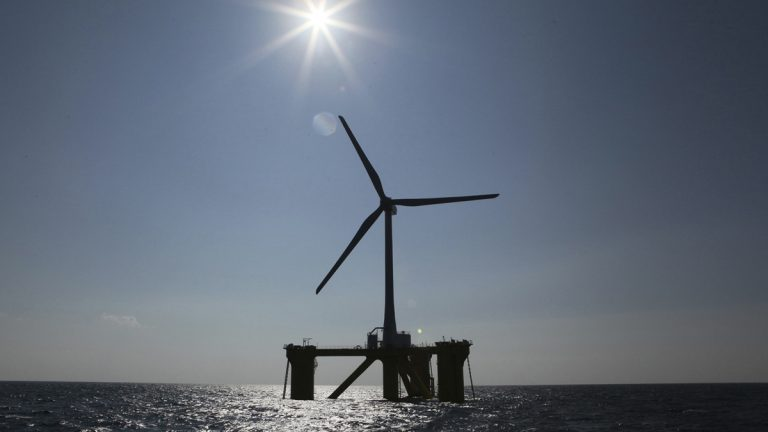 In this 2013 file photo  released by Marubeni Corp., a wind turbine, is seen off the coast of  northeastern Japan. (AP Photo/Marubeni Corp.)