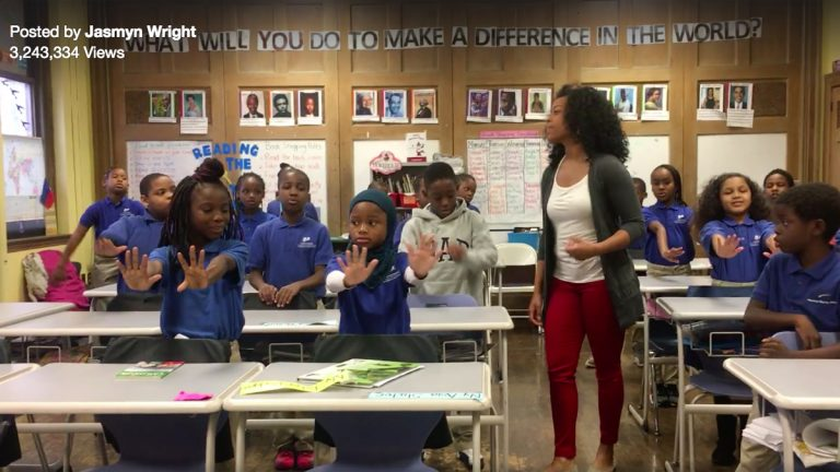 Jasmyn Wright leads her class in a call-and-response video that went viral on Facebook.