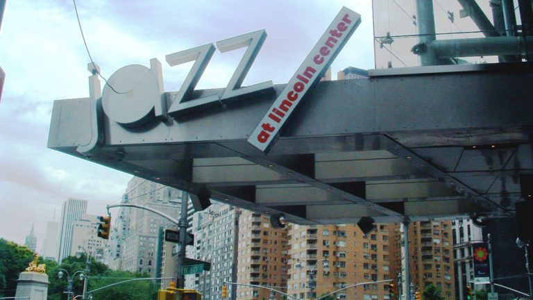 Sign outside of Jazz at Lincoln Center (<a href='https://en.wikipedia.org/wiki/Jazz_at_Lincoln_Center'>Wikipedia</a>)