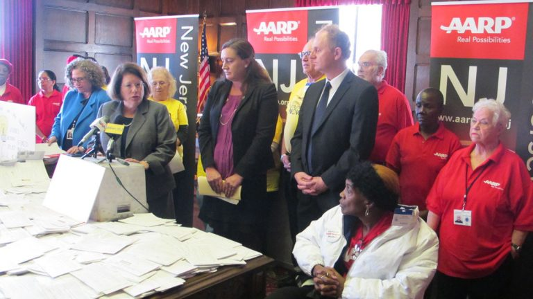 Lawmakers and AARP members call for rate relief for JCP&L customers. (Phil Gregory/WHYY)