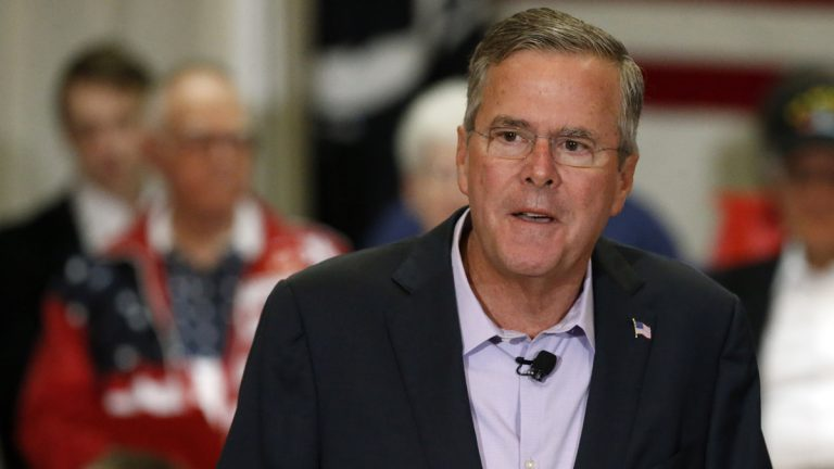 Republican presidential candidate, former Florida Gov. Jeb Bush, is shown at a campaign stop in Englewood, Colorado, in 2015. (AP Photo/Brennan Linsley, file)