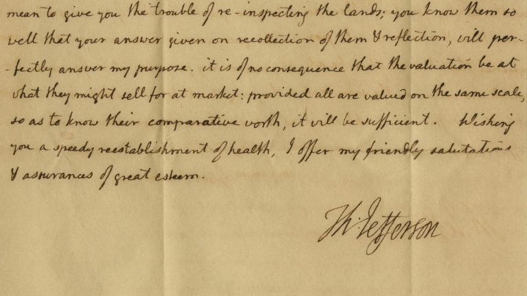 This undated photo provided by Nathan Raab shows the July 24, 1805 letter from President Thomas Jefferson to his friend and estate manager. (AP Photo/Courtesy Nathan Raab Collection)