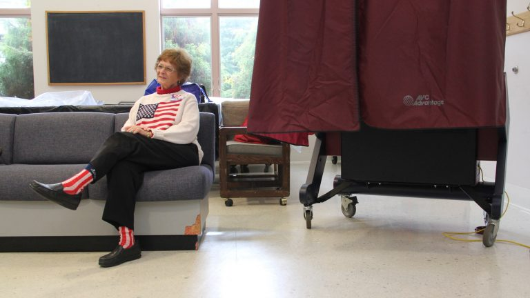 Election official Phyllis Detwiler waits for voters at the Collingswood Community Center. (NewsWorks file photo)