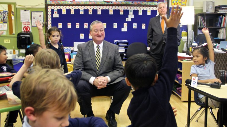 Jim Kenney, pictured during a visit to Andrew Jackson Elementary School in South Philly, will use his inaugural party to raise money for The Fund for the School District of Philadelphia. (Emma Lee/WHYY)