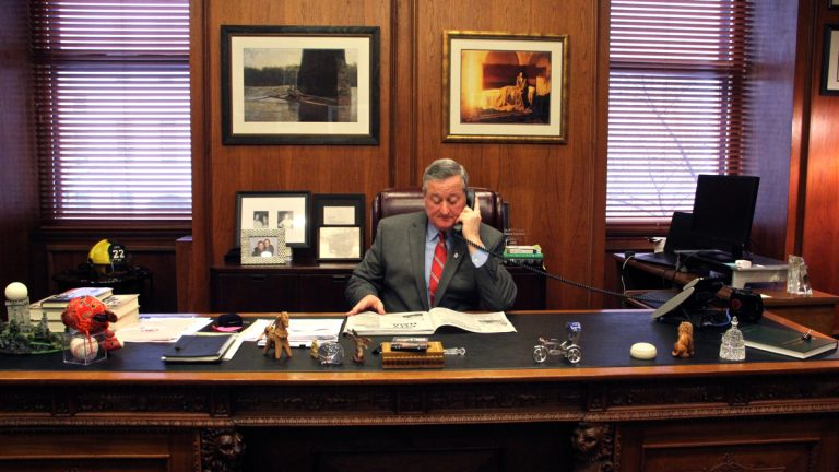 Philadelphia Mayor Jim Kenney in his office at City Hall. (Emma Lee/WHYY)