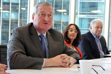 Mayoral candidate Jim Kenney discusses his ethics policy paper at a Monday afternoon press conference. (Emma Lee/WHYY)
