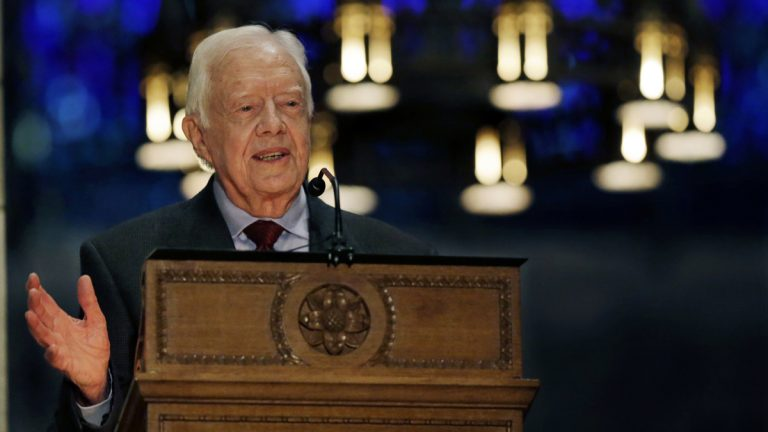 Former President Jimmy Carter, 90, addresses a gathering at the Princeton University Chapel as he talks about his new book,