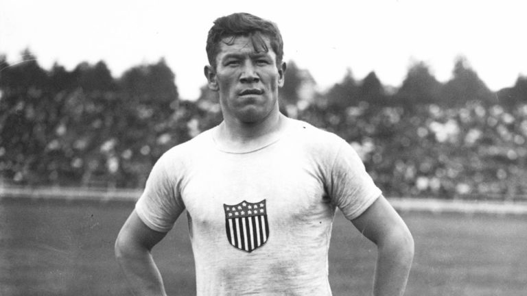 Jim Thorpe at the 1912 Summer Olympics in Stockholm, Sweden. (Public domain image courtesy of The Penn Museum)