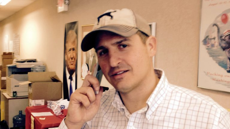 Philadelphia GOP leader Joe DeFelice works the phones on Election Day, Nov. 8. (NewsWorks file photo)