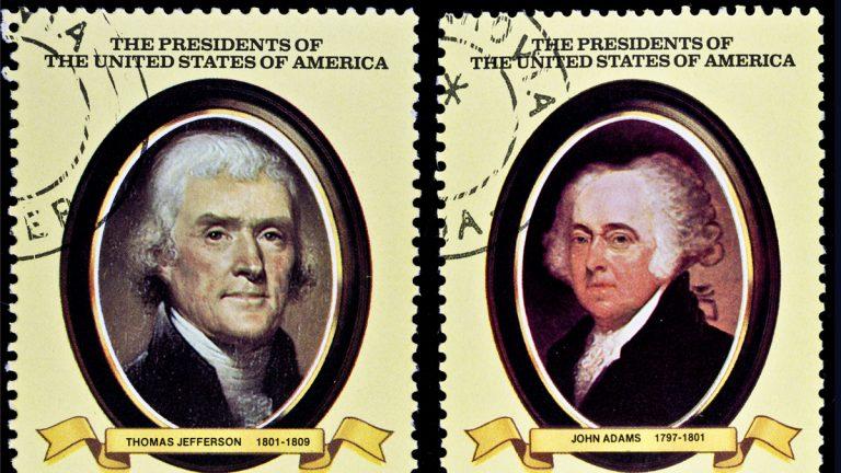 Stamps printed in Liberia shows President John Adams