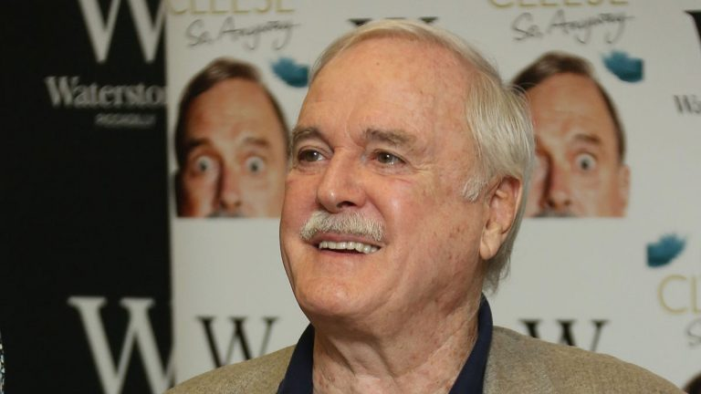 British comedian John Cleese at a book signing event in central London