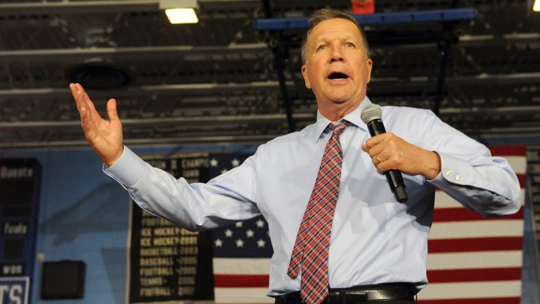 Republican presidential candidate Ohio Gov. John Kasich speaks during a campaign event at the La Salle Institute on Monday