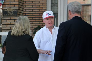 Union boss John 'Johnny Doc' Dougherty outside of his home in South Philadelphia during an FBI raid in 2016. (Emma Lee/WHYY)
