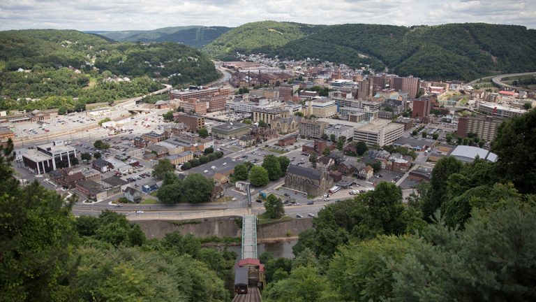 A view of looking at downtown from Johnstown Inclined Plane.  A recent survey by the Tribune-Democrat shows that residents are happy with arts initiatives but want to see more work on fighting crime and blight. (Lindsay Lazarski/WHYY)