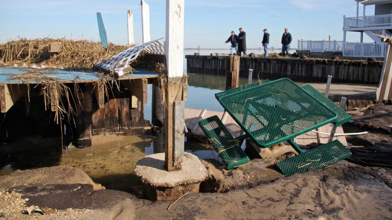 Winter storm Jonas washed away a portion of bulkhead in West Wildwood. (Emma Lee/WHYY)