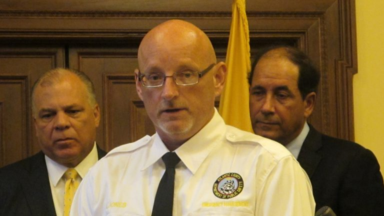 Vince Jones with Atlantic County Emergency Management thanks New Jersey senators for proposing the measure. (Phil Gregory/WHYY)
