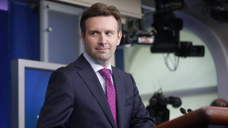 White House press secretary Josh Earnest is shown taking the podium for a daily press briefing at the White House. (AP Photo/Charles Dharapak, file)