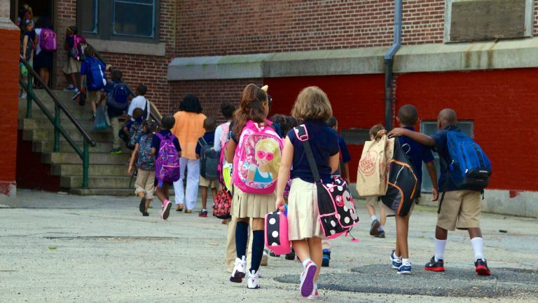 Students filing into Mt. Airy's C.W. Henry School.(Jana Shea/for NewsWorks, file)