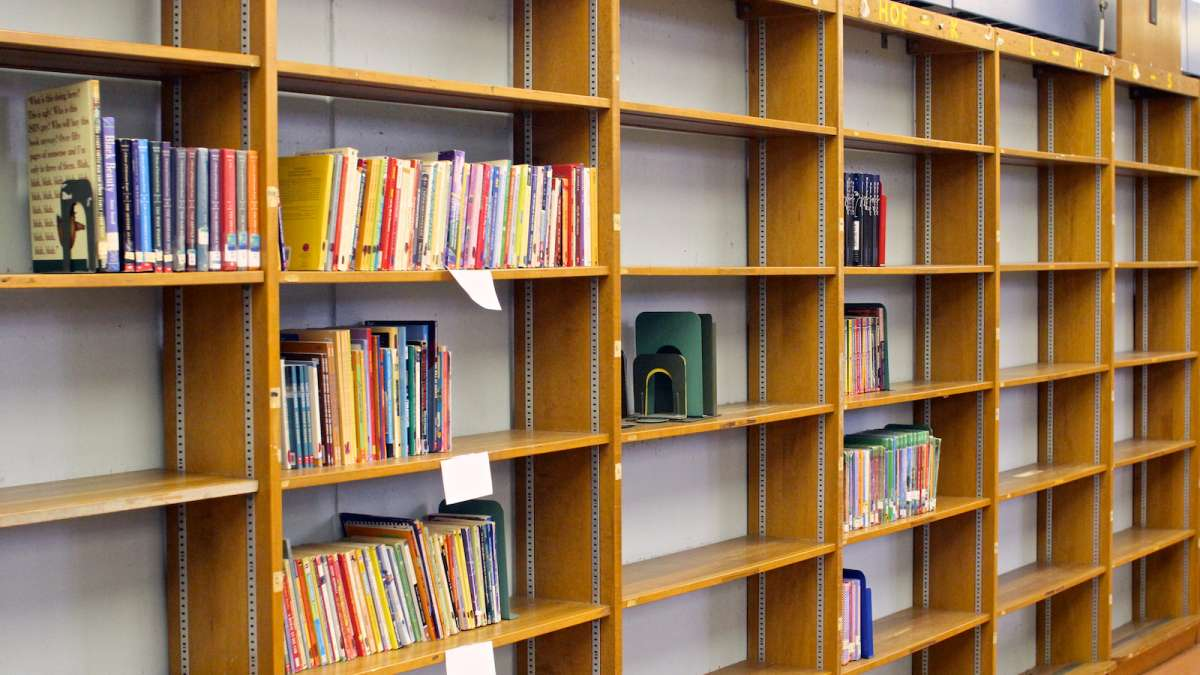 Houston Elementary's library shelves were nearly empty after tattered and obsolete books were purged. (Jana Shea/for NewsWorks)