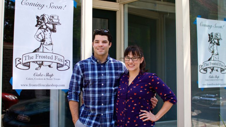 Husband and wife team, Jenny Low and Sean Williams, are behind the new specialty cake shop that's coming to Germantown Avenue. (Jana Shea/for NewsWorks)