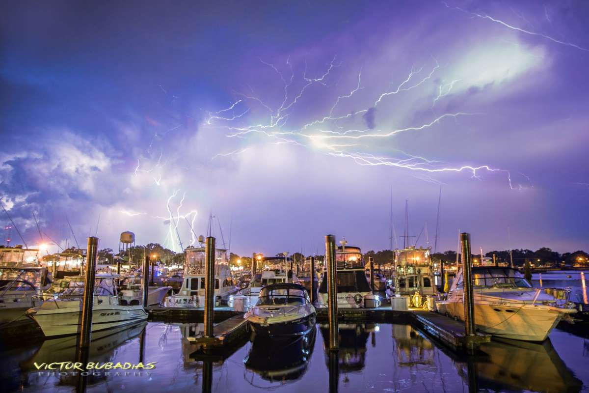 Lightning over the Belmar Marina in early July 2014. (Photo: Victor Bubadias Photography)