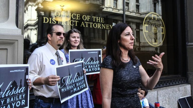 On Wednesday, Republican mayoral candidate Melissa Murray Bailey called on City Council 'to defund the salary' of three people involved in the DA's office email scandal. (Kimberly Paynter/WHYY)