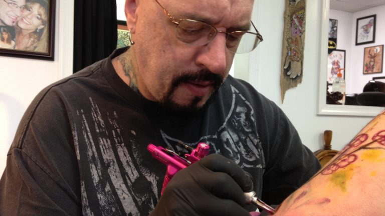 Steve Junkins, of Drop of Ink Tattoo in Mechanicsburg (Mary Wilson/WHYY)