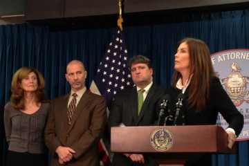 Attorney General Kathleen Kane  at today's news conference. (Mary Wilson/for NewsWorks)