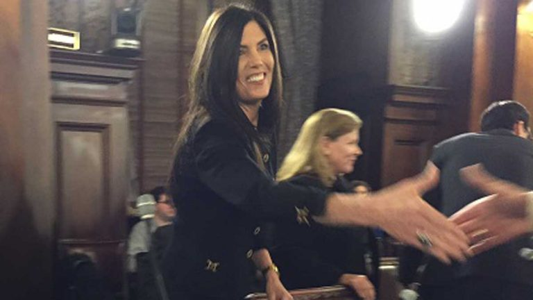 Pennsylvania Attorney General Kathleen Kane prepares to make her case for more funding before the House Appropriations Committee. (Mary Wilson/WHYY)