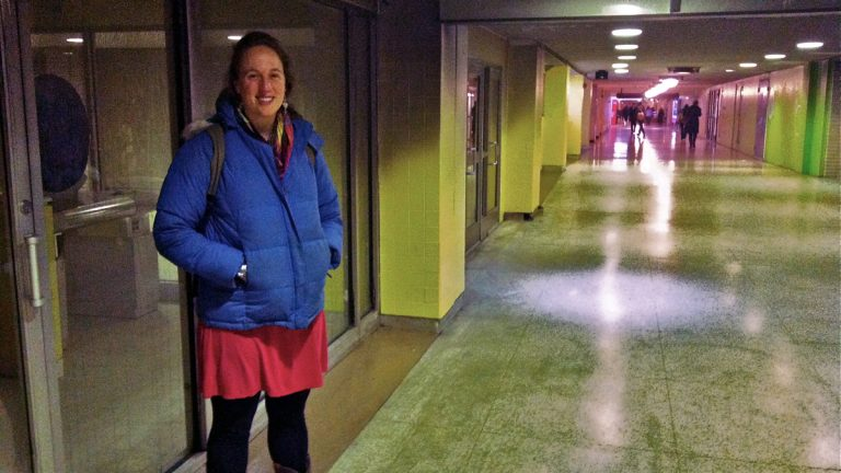Karen Orrick, coordinator of Hub for Hope, a drop-in homeless center in Suburban Station, expects to open next week. (Elana Gordon/WHYY)