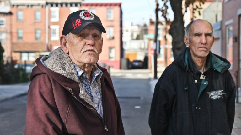 Life-time Fishtown residents and brothers William Pomroy and Walter Pomroy remember their friend Kathryn Wilson who was found murdered in her home on Earl Street. (Kimberly Paynter/WHYY)