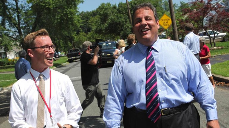 WNYC reporter Matt Katz (left) has been covering New Jersey Gov. Chris Christie for four years. (Photo courtesy of Tim Larsen/Governor's Office)