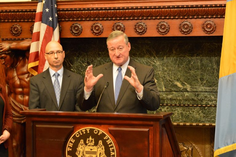 Philadelphia Revenue Commissioner Frank Breslin and Mayor Jim Kenney talk about the framework for collecting the city's new tax on sweetened beverages (Tom MacDonald/WHYY)