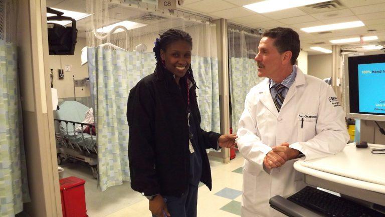 Nurse Keenya Eubanks with Dr. Carl Chudnofsky