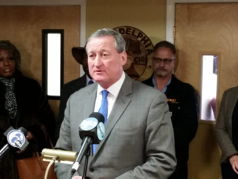 Mayoral candidate Jim Kenney accepts the endorsement of the AFL-CIO Council of Philadelphia in his bid for City Hall. (Tom MacDonald/WHYY)