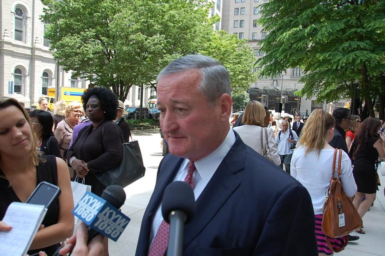 Mayor Jim Kenney talks with reporters outside City Hall. (Tom MacDonald/WHYY)