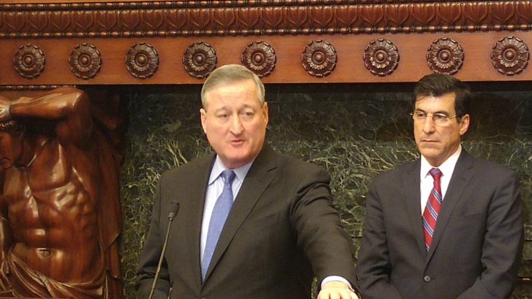 Philadelphia Mayor Jim Kenney discusses the city's preparations for a major snowstorm expected to hit Friday night. (Tom MacDonald/WHYY)