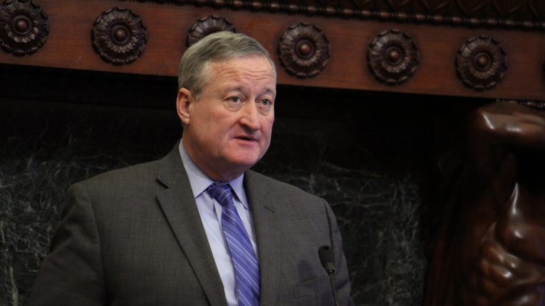 Mayor Jim Kenney reacts to the Pennsylvania Senate bill that would cut off state funding to sanctuary cities like Philadelphia. (Emma Lee/WHYY)