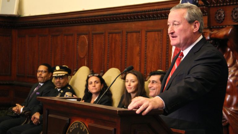 Mayor-elect Jim Kenney names members of his adiministration (from left) Chief Education Officer Otis Hackney, Police Commissioner Richard Ross, Deputy Mayor of Intergovernmental Affairs Debbie Mahler, Chief of Staff Jane Slusser and Managing Director Mike DiBerardinis. (Emma Lee/WHYY)