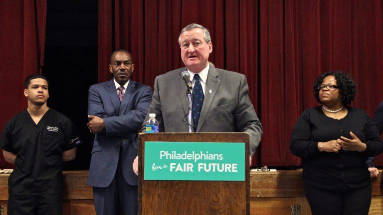 Philadelphia Mayor Jim Kenney speaks at a rally held by Philadelphians for a Fair Future. (Emma Lee/WHYY)