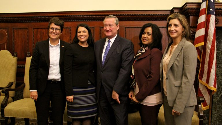 Mayor-elect Jim Kenney makes four more appointments to his administration, (from left) Nellie Fitzpatrick, Stephanie Monahon, Nina Ahmad and Anne Gemmell. (Emma Lee/WHYY)