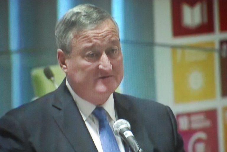 Philadelphia Mayor Jim Kenney speaks at the United Nations. (Tom MacDonald/WHYY)