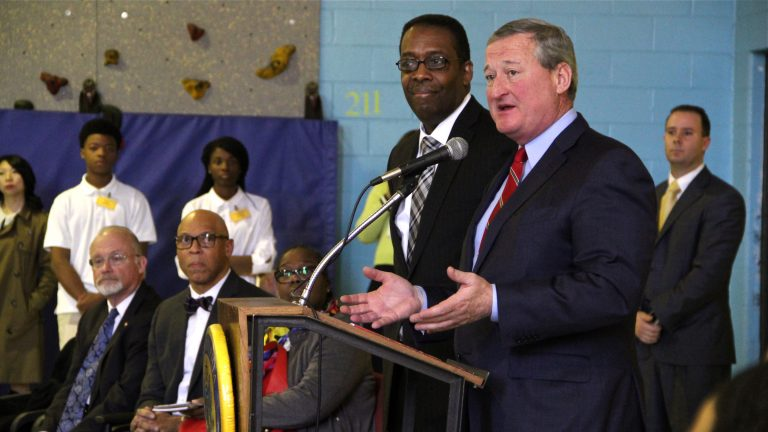 Council President Darrell Clarke and Mayor-elect Jim Kenney convene at Duckrey Tanner School to share what they learned during a fact-finding trip to Cincinnati. (Emma Lee/WHYY)