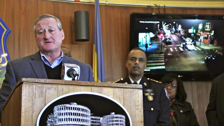 Mayor Jim Kenney speaks at a police press conference