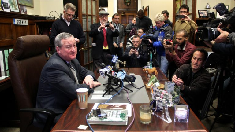 City Councilman James Kenney announces that he will resign on Thursday. (Emma Lee/WHYY)