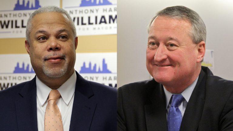 Pa. Sen. Anthony Williams (left) and Democratic candidate for Philadelphia mayor, Jim Kenney. (Emma Lee/WHYY)
