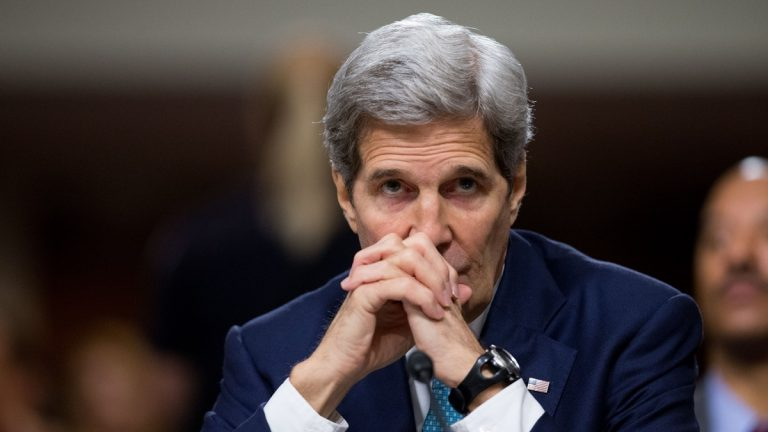 Secretary of State John Kerry testifies at a Senate Foreign Relations Committee hearing on Capitol Hill, in Washington, Thursday, July 23, 2015, to review the Iran nuclear agreement. Kerry bluntly challenged critics of the Obama administration's nuclear deal with Iran on Thursday, calling it
