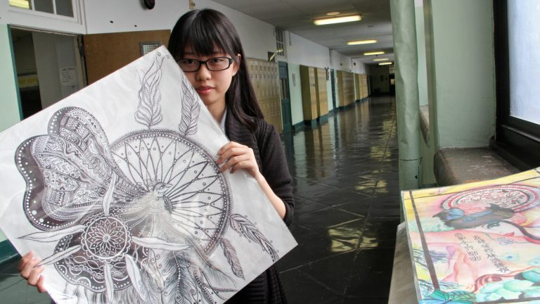 Xiuying Zhang, a senior at Furness High School, could not pass any portion of the Keystone exams. She has been accepted to University of the Arts and  hopes to become a professional illustrator. (Emma Lee/WHYY)