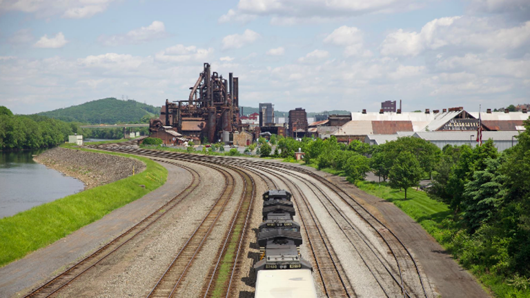 A train approaches the blast furnaces of the former Bethlehem Steel Corporation plant in Bethlehem